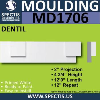 """MD1706 Spectis Molding Dentil Trim 1 3/4""""P x 4 3/4""""H x 144""""L"""