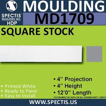 "MD1709 Spectis Molding Square Stock Trim 4""P x 4""H x 144""L"