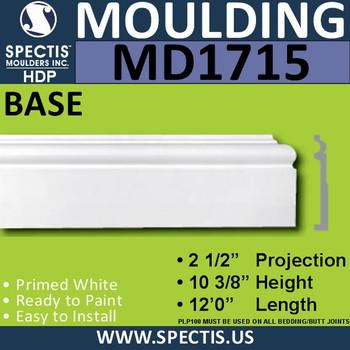 """MD1715 Spectis Molding Base Trim 2 1/2""""P x 10 3/8""""H x 144""""L"""
