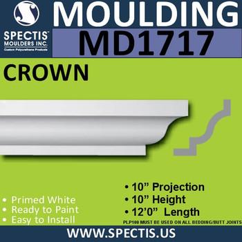 """MD1717 Spectis Crown Molding Trim 10""""P x 10""""H x 144""""L"""