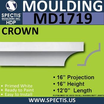 """MD1719 Spectis Crown Molding Trim 16""""P x 16""""H x 144""""L"""