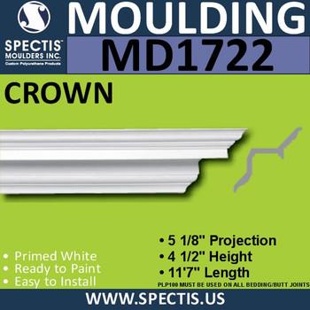 """MD1722 Spectis Crown Molding Trim 5 1/8""""P x 4 1/2""""H x 139""""L"""