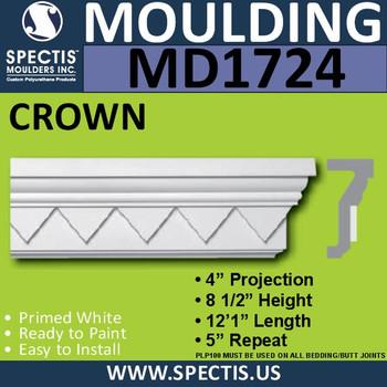 """MD1724 Spectis Molding Cap Trim 4""""P x 8 1/2""""H x 144""""L"""