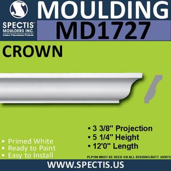 """MD1727 Spectis Crown Molding Trim 3 3/8""""P x 5 1/4""""H x 144""""L"""
