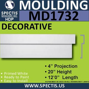 """MD1732 Spectis Molding Cap Trim 4""""P x 20""""H x 144""""L"""