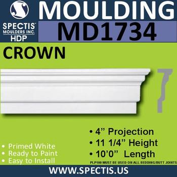 """MD1734 Spectis Molding Cap Trim 4""""P x 11 1/4""""H x 120""""L"""