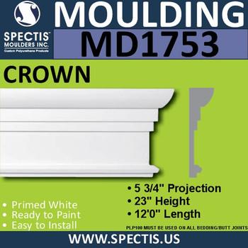"""MD1753 Spectis Molding Base Cap Trim 5 3/4""""P x 23""""H x 144""""L"""
