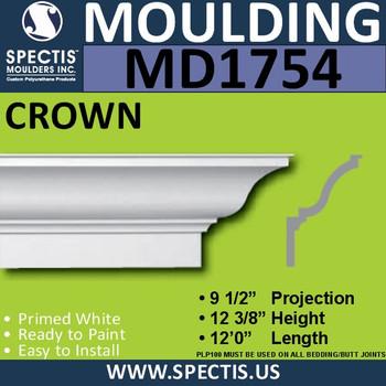 """MD1754 Spectis Crown Molding Trim 9 1/2""""P x 12 3/8""""H x 144""""L"""