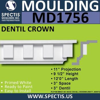 """MD1756 Spectis Crown Molding Dentil Trim 11""""P x 9 1/2""""H x 144""""L"""