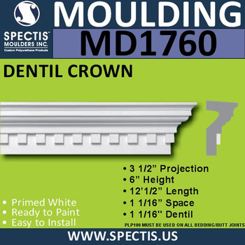 "MD1760 Spectis Crown Molding Dentil Trim 3 1/2""P x 6""H x 144.5""L"