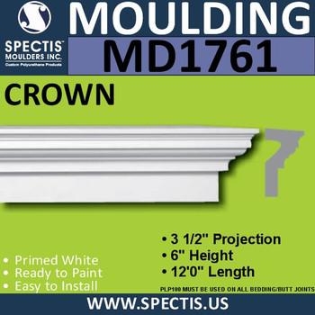"""MD1761 Spectis Crown Molding Trim 3 1/2""""P x 6""""H x 144""""L"""