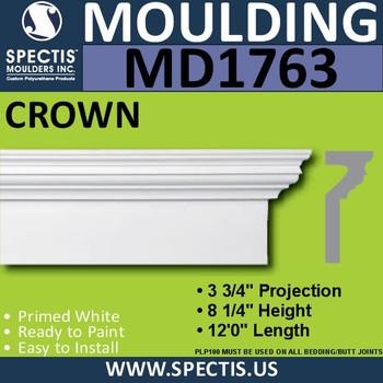 """MD1763 Spectis Crown Molding Trim 3 3/4""""P x 8 1/4""""H x 144""""L"""