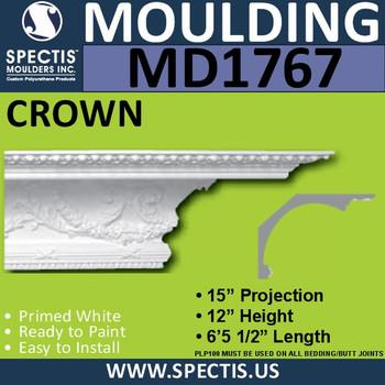 """MD1767 Spectis Crown Molding Trim 15""""P x 12""""H x 77""""L"""