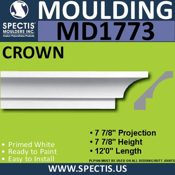"""MD1773 Spectis Crown Molding Trim 7 7/8""""P x 7 7/8""""H x 144""""L"""