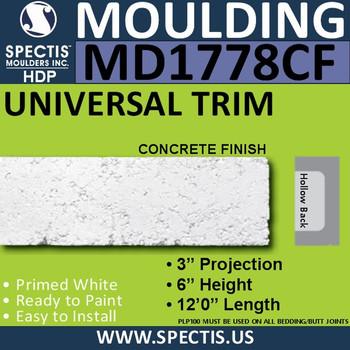 "MD1778CF Brick Molding Concrete Finish Trim 3""P x 6""H x 144""L"