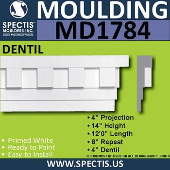 """MD1784 Spectis Molding Dentil Trim 4""""P x 14""""H x 144""""L"""