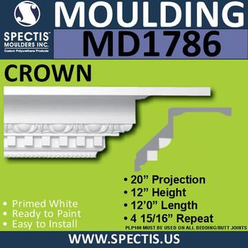 """MD1786 Spectis Crown Molding Trim 20""""P x 12""""H x 144""""L"""