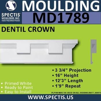 """MD1789 Spectis Molding Dentil Trim 3 3/4""""P x 16""""H x 148""""L"""