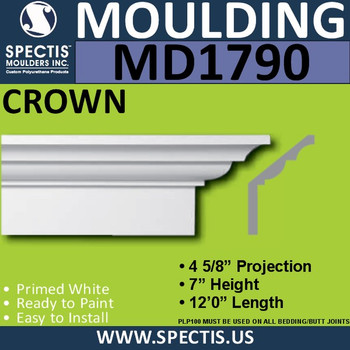 """MD1790 Spectis Crown Molding Base Trim 7""""P x 4 5/8""""H x 144""""L"""