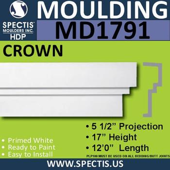 """MD1791 Spectis Molding Cap Trim 5 1/2""""P x 17""""H x 144""""L"""