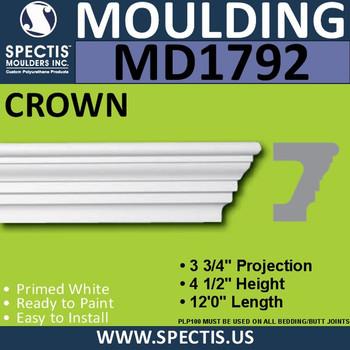 """MD1792 Spectis Molding Cap Trim 3 3/4""""P x  4 1/2""""H x 144""""L"""