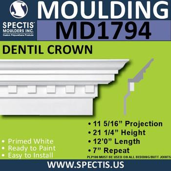 """MD1794 Spectis Crown Molding Trim 11 5/16""""P x 21 1/4""""H x 144""""L"""