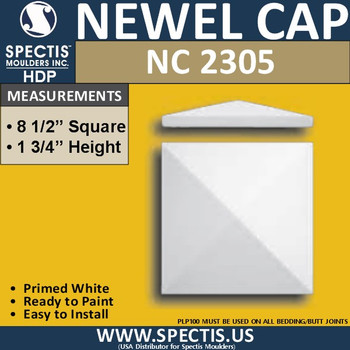"NC2305 Urethane Newel Cap 8.5"" W x 1.75"" H"