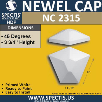 "NC2315 Polygon Newel Cap 13"" W x 7.81"" L x 3.75"" H"
