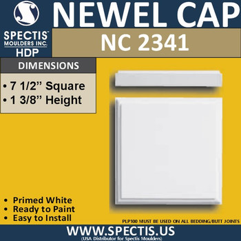 "NC2341 Urethane Newel Cap 7.5"" W x 1.4"" H"