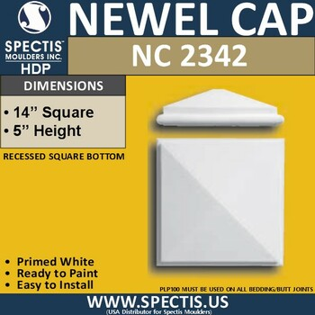 "NC2342 Urethane Newel Cap 7.5"" W x 1.4"" H"