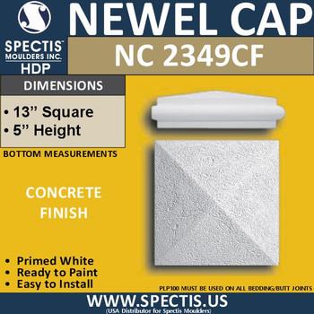 "NC2349CF Concrete Finish Newel Cap 13"" W x 5"" H"