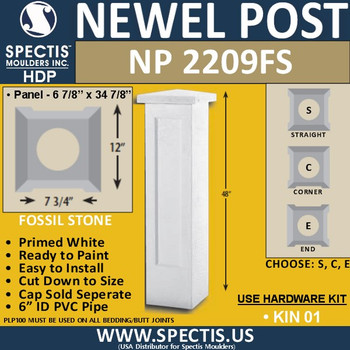 """NP2209FS Fossil Stone Newel Post 12"""" W x 48"""" H"""