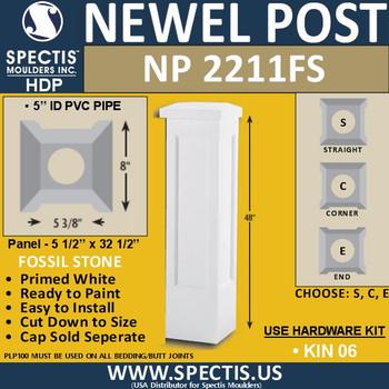 """NP2211-FS Fossil Stone Newel Post 8"""" W x 48"""" H"""