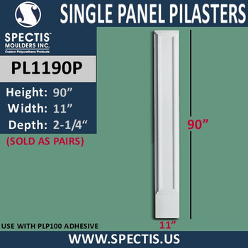 """PL1190P Single Panel Pilasters from Spectis 11"""" x 90"""""""
