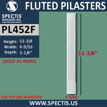 """PL452F Fluted Pilasters from Spectis Urethane 4"""" x 51 3/4"""""""