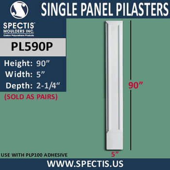 """PL590P Single Panel Pilasters from Spectis Urethane 5"""" x 90"""""""