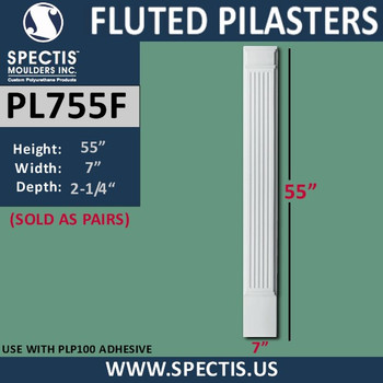 """PL755F Fluted Pilasters Spectis Urethane 7"""" x 55"""""""