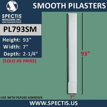 "PL793SM Smooth Panel Pilasters Spectis Urethane 7"" x 93"""