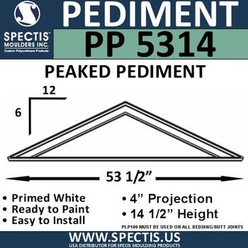"""PP5314 Peaked Pediment for Door 53 1/2"""" x 14 1/4"""""""