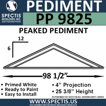 """PP9825 Peaked Pediment for Door 98 1/2"""" x 25 3/8"""""""