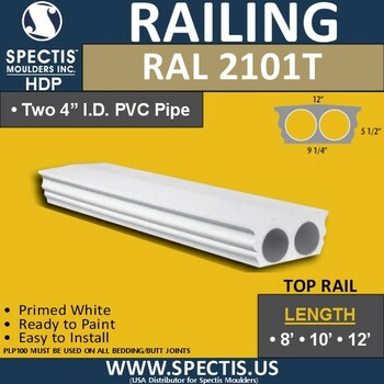 "RAL2101T Smooth Finish 9 1/4""W Top Railing 8'-10'-12'"