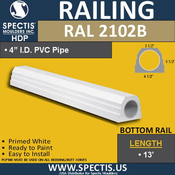 "RAL2102B 3 1/2""W Smooth Finish Bottom Railing 144"""