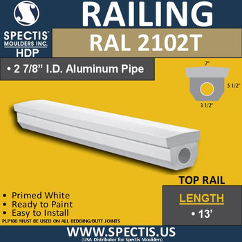 "RAL2102T 3 1/2""W Smooth Finish Top Hand Rail 144"""