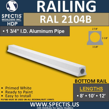 "RAL2104B 2 7/8""W Smooth Finish Bottom Rail 8'-10'-12'"