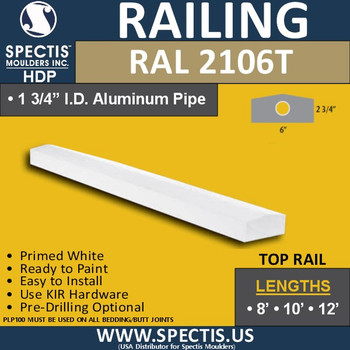 """RAL2106T 6"""" Wide x 12' Long Top Hand Rail with Peak"""