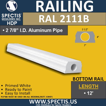 "RAL2111B 5 1/2"" Wide x 12' Long Bottom Hand Rail"