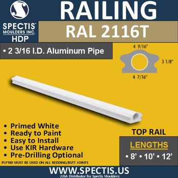 "RAL2116T 4 7/16"" Wide x 12' Long Top Hand Railing"