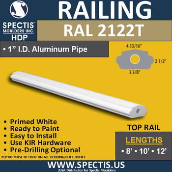 "RAL2122B 3 3/8"" Wide Smooth Finish Top Hand Rail 8'-10'-12'"