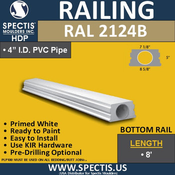 "RAL2124B 7 1/8"" Wide Smooth Finish Bottom Rail 8'-10'-12'"