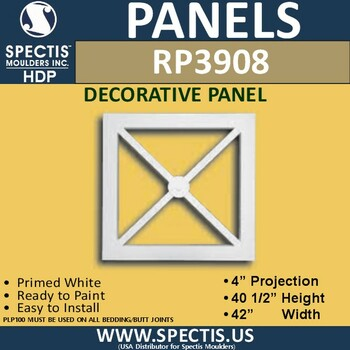 "RP3908 Decorative Urethane Panel 4""P X 40 1/2""H X 42""W"